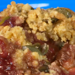 Brian Turner plum Crumble with pink custard recipe on My Life on a Plate