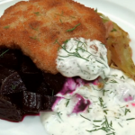 Ainsley Harriott pork escalope with beetroot  recipe on Len and Ainsley's Big Food Adventure