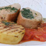 Brian Turner roast pork fillet with apple and tomato chutney recipe on My Life on a Plate