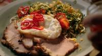 Nigella Lawson Hawaiian style stir-fried with brown basmati rice, ham, double sprouts, chilli and pineapple, fried in coconut oil and topped with a fried egg on Simply Nigella Christmas Special....