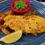 James Tanner fish with potato wedges and mushy peas recipe on Lorraine