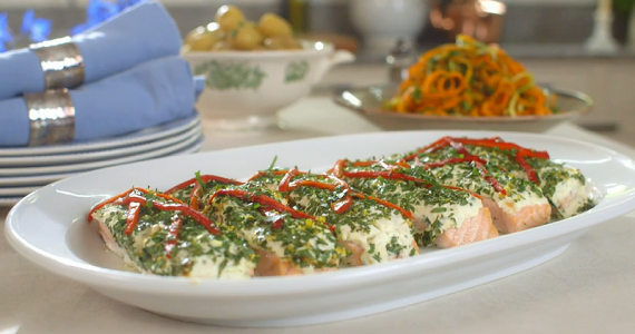 mary berry salmon fillets with herbs and red pepper recipe