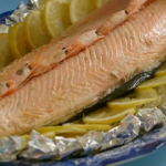 Annie Grey baked salmon in tin foil recipe on James Martin: Home Comforts