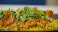Lorraine Pascale served up a tasty chicken tikka Masala curry with fluffy basmati rice on The Best Dishes Ever with Ainsley Harroitt. The ingredients are: 4 tbsp garam masala, 1...