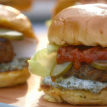 Mary Berry lamb burgers with mint mayo and tomato relish recipe on Mary Berry's Foolproof Cooking