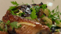 Nigel Slater served up tasty sticky chicken with lemon and honey on The Best Ever Dishes. The ingredients are: 1 tbsp black peppercorns, 2 lemons, juice only, good squeeze or...