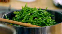 """Mary Berry served up tasty green vegetables with mint caper butter on Mary Berry's Easter Feast. Mary says: """"This is a flavourful side dish that is wonderful with a roast.""""..."""