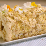 Mary Berry lemon curd and pistachio meringue roulade recipe on Mary Berry's Easter Feast