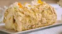 "Mary Berry made a delicious lemon curd and pistachio meringue roulade dessert on Mary Berry's Easter Feast. Mary says: ""This is a great chilled dessert to feed a crowd, and..."