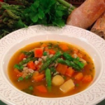 John Whaite vegetable and pearl barley broth recipe on Lorraine