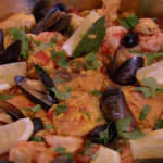 Rosemary Shrager paella with chicken and seafood on Chopping Block