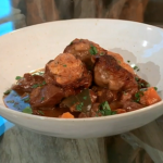 Lorraine Pascale Lamb stew with port, porcini and herby dumplings recipe on Saturday Kitchen