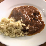 Rick Stein Viennese goulash with spaetzle pasta recipe on Rick Stein's Long Weekends