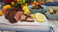 John Whaite served up a tasty butterflied paprika lamb with tomato salad dish for the Bank Holiday on Lorraine. The ingredients for the Lamb: 1.5kg butterflied leg of lamb, 2...