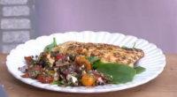Ainsley Harriott served up a taste of the BBQ Mediterranean with his lemon and oregano chargrilled chicken with puy lentil, feta cheese and sundried tomato salad dish on This Morning....