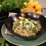 John Whaite's pea risotto with minty feta recipe on Lorraine