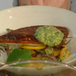 Tom Kerridge sea bream with feta cheese pesto recipe on Saturday Kitchen