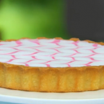 Mary's Bakewell tart with feathered icing recipe on The Great British Bake Off