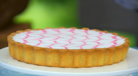 "Mary Berry showcased her delicious bakewell tart in pastry week on The Great British Bake Off. Mary says: ""This classic Bakewell tart is topped with feathered icing to give an..."