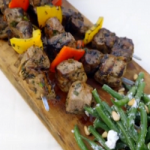 Gino D'Acampo grilled lamb skewers with a green bean and goat's cheese salad recipe on Gino's Italian Escape: Hidden Italy