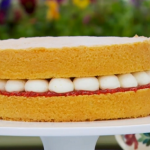 Mary's Victoria sandwich sponge with raspberry jam and buttercream filling for the  technical challenge on Bake Off 2016