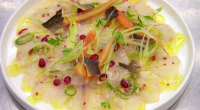 Monica Galetti served up a tasty sea bass ceviche with crispy skin dish on MasterChef: The Professionals. The ingredients includes: 1 sea bass (pinboned, skinned and filleted), fennel, carrots and...