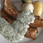 Rick Stein fried pork belly with lovage and parsley sauce recipe on Rick Stein's Long Weekends