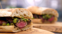 Marcus Wareing served up a tasty hot lamb sandwich with a pea and mint salsa on MasterChef: The Professionals. The ingredients include: Neck of lamb, flour, garlic, Rosemary, thyme, butter,...