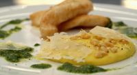 Marcus Wareing served up a tasty John Dory with polenta and basil pesto on MasterChef: The Professionals. The ingredients includes: John dory fish, milk, chicken stock, saffron, polenta, Parmesan, tarragon,...