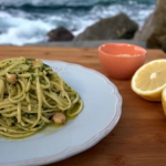 Gino's linguine pasta with scallops and parsley pesto recipe on Gino's Italian Escape: Hidden Italy