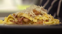 Monica Galetti served up a tasty looking sauce carbonara with tagliatelle pasta dish to test the contestants on MasterChef: The Professionals. The ingredients are: pancetta, onions, 2 egg yolks, fresh...