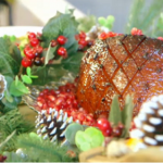 Nadia's glazed gammon with pomegranate, bacon and peas recipe on Lorraine