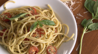 "Rick Stein served up a tasty pasta with almond, basil and pecorino pesto (pesto alla Trapanese) vegetarian dish on Rick Stein's Long Weekends. Rick says: ""Homemade pesto is such a..."