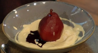 John Torode served up a delicious poached pear with red wine and custard dessert for a festive treat on Saturday Kitchen. The ingredients are: 6 pears peeled and cored from...