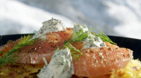 Phil Vickery served up a festive feast starter with his salmon rosti with caraway and vodka dish on This Morning. The ingredients are: 500g smoked salmon fillet, sliced into thick...