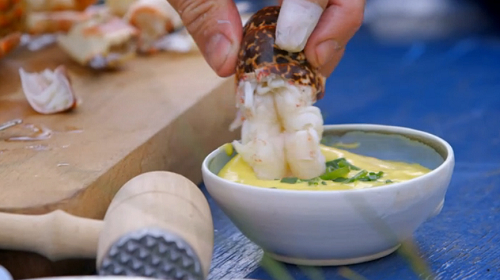 Jimmy Doherty crab and lobster with samphire dish on Jamie and Jimmy's Friday Night Feast | TV Foods