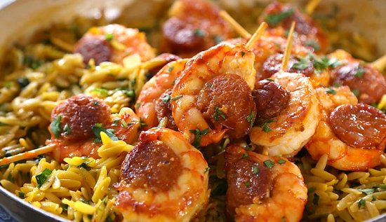 The Hairy Bikers Orzo Pasta Bake With Chorizo And Prawns