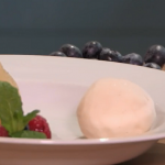 Carolyn Robb poached pears with homemade vanilla ice cream recipe