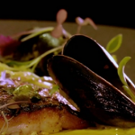 Atul Kochhar pan fried sea bass with mussels and coconut sauce recipe