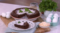 Bake Off's Candice Brown goes sugar-free for Alison with her chocolate mint and coconut cake with coconut sugar on This Morning. The ingredients are: 140ml melted coconut oil (plus more...