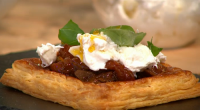 Simon Rimmer served up confit tomato and burrata tarts on Sunday Brunch. The ingredients are: 6 pieces ready rolled puff pastry 125mm square, egg wash, 1kg plum tomatoes, 6 cloves...