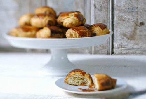 """James Martin served up pain au chocolat croissant on James Martin's French Adventure. James says: """"The key to these bakes is to use water and plenty of butter."""" The ingredients..."""