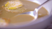 James Martin served up a French fish soup (soupe de poisson) with croutons and cheese on James Martin's French Adventure. The ingredients includes: leek, fennel, garlic, olive oil, ream, mackerel,...
