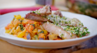 James Martin served up lamb ratatouille with mustard, almonds, pistachio nuts on James Martin's French Adventure. The ingredients include: aubergines, corvettes, peppers, butter, onions, tomatoes, mustard, lamb chops, garlic, almonds,...