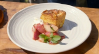 James Martin served up caramelized peaches with brioche, basil and yogurt dessert on James Martin's French Adventure. The ingredients for the eggy brioche bread: eggs, sugar, milk and butter. For...