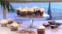 Juliet Sears served up pinata cupcakes filled with sweets on This Morning. the ingredients are: 175 g plain chocolate chips (70 per cent cocoa solids), 200 g light muscovado sugar,...