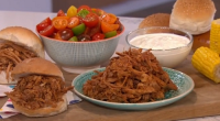 Phil Vickery served up an American style pulled pork with apple juice for a TV dinner for Eamonn Holmes and a mushroom pulled pork TV dinner for Russell Brand on...