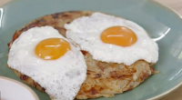 "Mary Berry served up crispy bacon and potato rosti with fried eggs on top on Mary Berry Everyday. Mary says: ""This is a wonderful dish that is so simple to..."