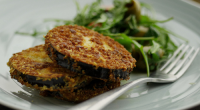 Simon Rimmer served up Parmesan Coated Aubergine on today's episode of Sunday Brunch. The ingredients are: 75g finely grated parmesan, half tsp cayenne pepper, 75g breadcrumbs, 60g seasoned flour, 2...
