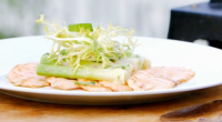 James Martin served up salmon with baby leeks with French style tarragon dressing on James Martin's French Adventure. The ingredients include: baby leeks, salmon, salt, French lettuce, shallots, salt and...